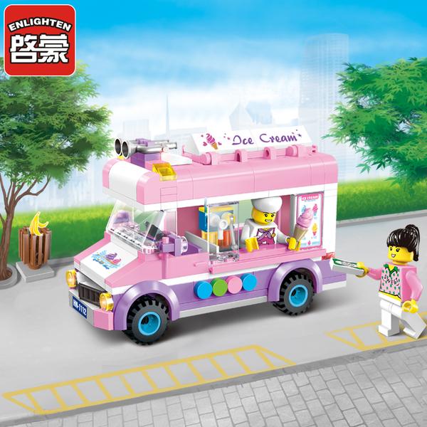 启蒙积木1112小颗粒拼装模型6-10岁女孩玩具城市系列移动冰淇淋车
